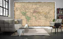 Fototapet, Harta lumii în stil vechi