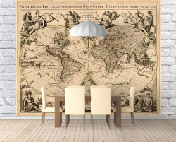 Fototapet Harta si Steaguri, Harta de epocă a lumii