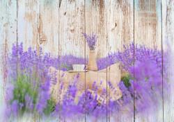 Fototapet, O cană și o vază într-un câmp de lavandă