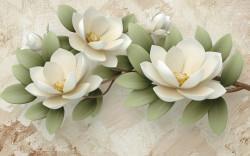 Fototapet, O crenguță cu flori albe pe fundal bej