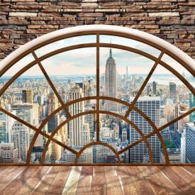 Fototapet, O fereastră rotundă într-un zid de cărămidă