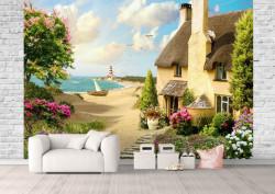 Fototapet, O Priveliște a casei de lângă lac