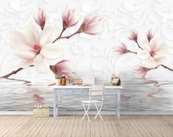Fototapet, Orhideele albe delicate de apă