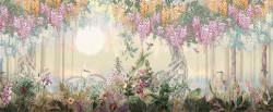 Fototapet, Pădurea cu flori roz
