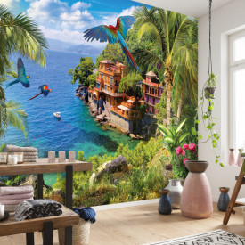 Fototapet, Peisajul frumos cu ocean și vilă