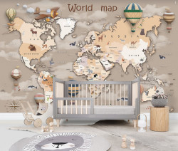 Fototapet pentru copii, Harta lumii bej
