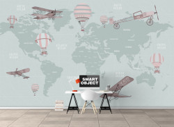 Fototapet Pentru Copii, Harta lumii cu transport pe un fundal pal verde