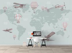 Fototapet pentru copii, Harta lumii pe un fundal pal verde