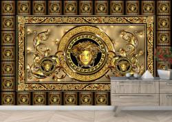 Fototapet, Perete decorativ în culoarea auriu-negru
