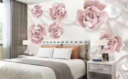 Fototapet, Trandafiri roz cu sfere albe pe un fundal de mătase