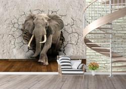 Fototapet, Un elefant ce sparge un perete