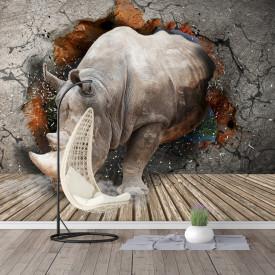 Fototapet, Un rinocer sparge peretele