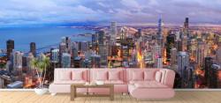Fototapet, Vedere panoramică aupra orașului Chicago