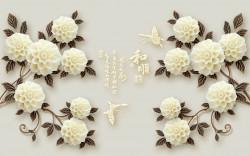 Fototapete 3D, Buchete din flori albe pe un fundal gri.