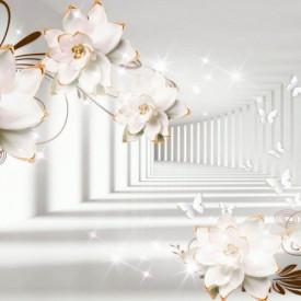 Fototapete 3D, Flori albe pe fundalul tunelului
