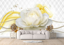 Fototapete 3D, Trandafir alb pe un fundal alb abstract