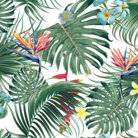 Fototapete, Frunze verzi tropicale cu flori