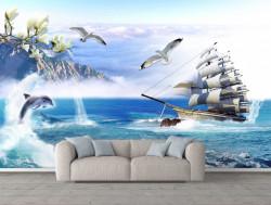Fototapete, O navă care navighează în ocean și pescăruși pe cer