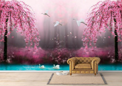 Fototapete, O pădure roz de poveste.