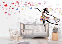 Fototapete Pentru Copii, Fototapete cu o fată fluturi și flori