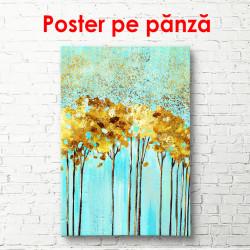 Poster, Copaci de aur pe un fundal albastru