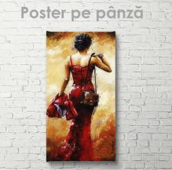 Poster, Domnișoara elegantă în rochie roșie