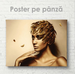 Poster,Fată cu pene aurii