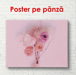 Poster, Flori roz pe un fundal roz