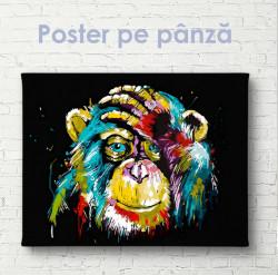 Poster, Maimuță abstractă pe fundal negru