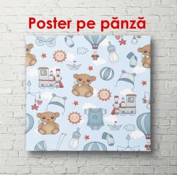 Poster, Urși cu o temă nautică pe un fundal albastru.