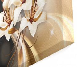 Tablou modular, Floarea albă pe un fundal de ciocolată