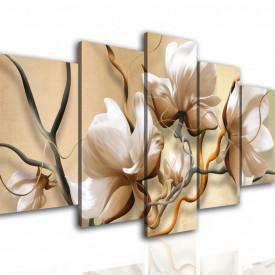 Tablou modular, Flori bej pe fundal în dungi