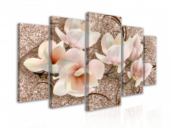 Tablou modular,Flori gingașe de magnolie pe un fundal bej
