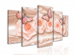 Tablou modular, Flori roz cu fluturi pe un fundal roz