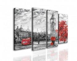 Tablou modular, Londra gri cu accente roșii
