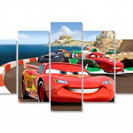 Tablou modular, Mașina roșie merge de-a lungul mării