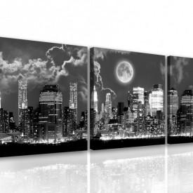 Tablou modular, Orașul alb-negru sub clar de lună
