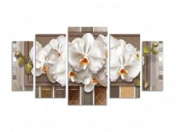 Tablou modular, Orhidee albă pe un fundal dungi