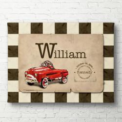 Tablouri Canvas, Mașina roșie pe un fond roz
