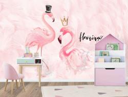 Tapet foto pentru copii, Mister și Miss Flamingo