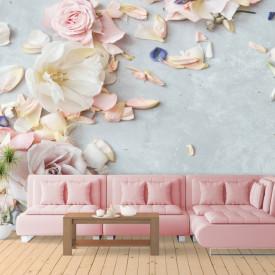 3D Fototapete, Flori roz delicate pe fundal albastru.