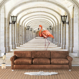 Fototapet 3D, Flamigo roz într-un tunel cu coloane grecești