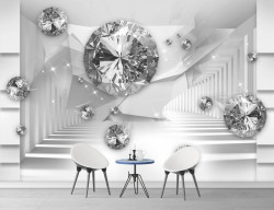 Fototapet 3D, Pietre prețioase pe fundalul unui tunel tridimensional