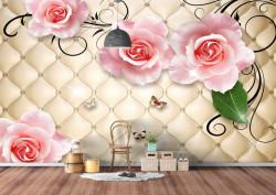 Fototapet 3D, Trandafiri roz deschis, pe un fundal auriu