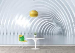 Fototapet 3D, Tunelul albastru pal cu arcade