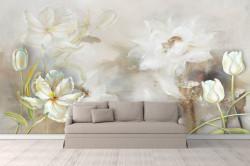 Fototapet Botanica, Flori albe pe fond gri.