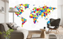 Fototapet, Bule multicolore sub forma unei hărți ale lumii