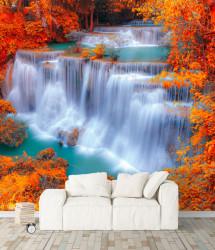 Fototapet, Cascadă uimitoare într-o pădure frumoasă tomnatică