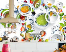 Fototapet, Cercuri pe un fundal imprimat cu fructe