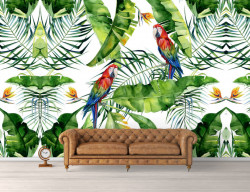 Fototapet, Doi papagali în junglă